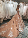 Dusty Pink Off-the-shoulder Applique Long Prom Dress Evening Dress SED293