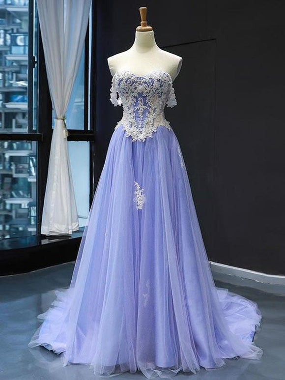 A-line 3D Applique Lace Long Prom Dress Lavender Evening Dress SED281