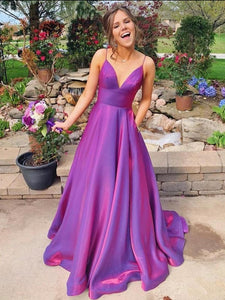 Unique Grape Spaghetti Straps Long Prom Dress Evening Dress SED282