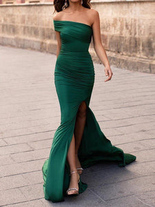 Unique Hunter Cap Sleeve Mermaid Long Prom Dress Evening Dress SED283