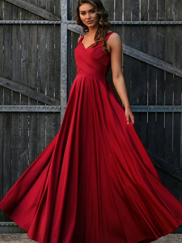 Unique A-line Red Simple Long Prom Dress Evening Dress SED285