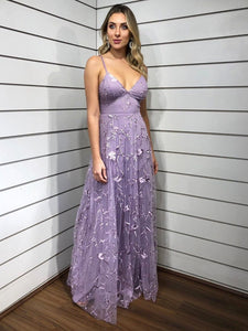 Chic Spaghetti Straps Lace Applique Lilac Long Prom Dress Evening Dress SED287