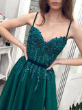 Chic Spaghetti Straps Dark Green Beaded Long Prom Dress Evening Dress SED288