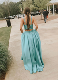Chic A-line Two Pieces Long Prom Dress Cheap Turquoise Evening Dress SED277
