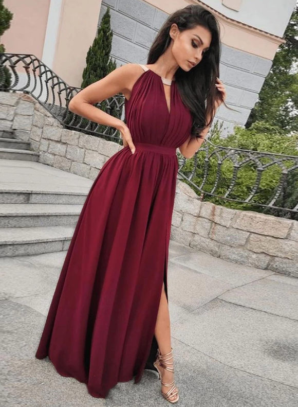 Chic A-line Burgundy Long Prom Dress Chiffon Cheap Evening Dress SED278