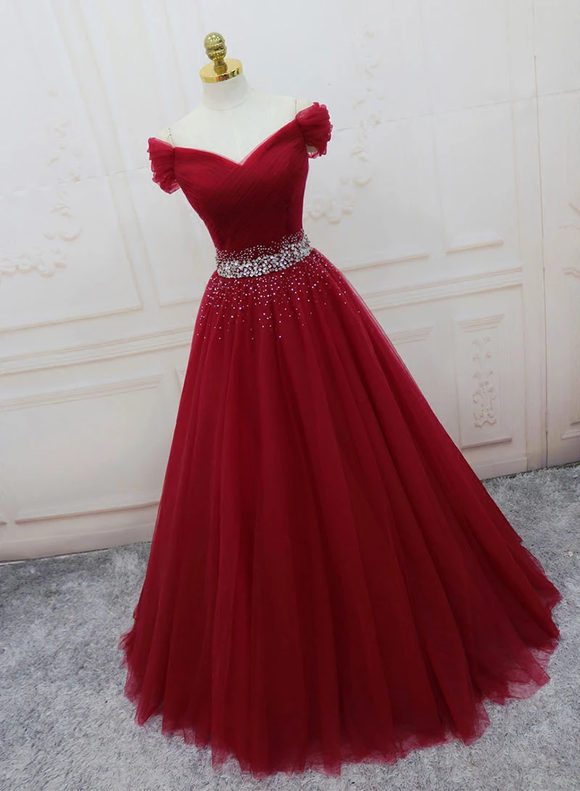 Chic Burgundy Off-the-shoulder Long Prom Dress Cheap Evening Dress SED279