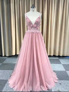 Chic Pink Spaghetti Straps Lace Long Prom Dress Beaded Evening Dresses SED271