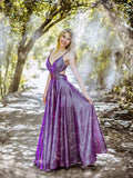 A-line Spaghetti Straps Grape Long Prom Dresses Sparkly Formal Gowns SED273