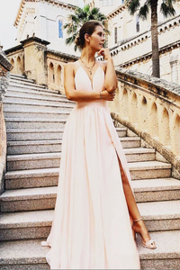 A-line Spaghetti Straps Pink Chiffon Long Prom Dresses Formal Gowns SED357