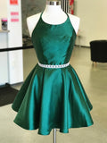 Spaghetti Straps Dark Green Short Prom Dress Homecoming Dress MHL087