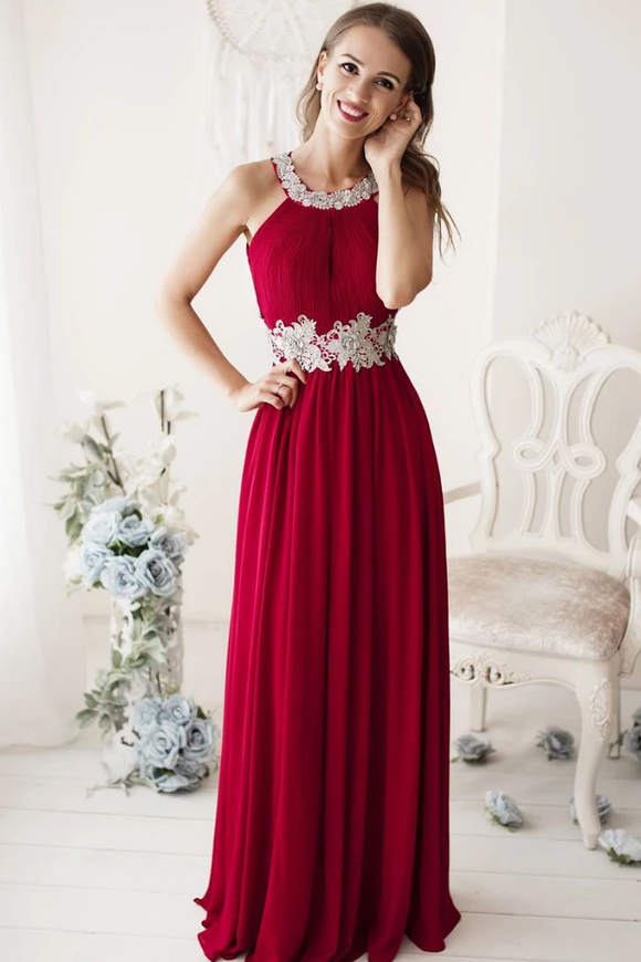 Simple Red Lace Long Prom Dresses Chiffon Evening Gowns SED362