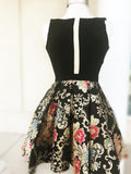 Black Short Prom Dress Unique Embroidery Homecoming Dress MHL091