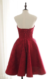Burgundy Sweetheart Lace Short Prom Dresses Homecoming Dresses MHL116