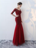 Mermaid Scoop Half Sleeve Lace Long Prom Dresses Evening Gowns SED367