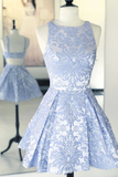 A-line Scoop Blue Short Prom Dress Print Homecoming Dress MHL104