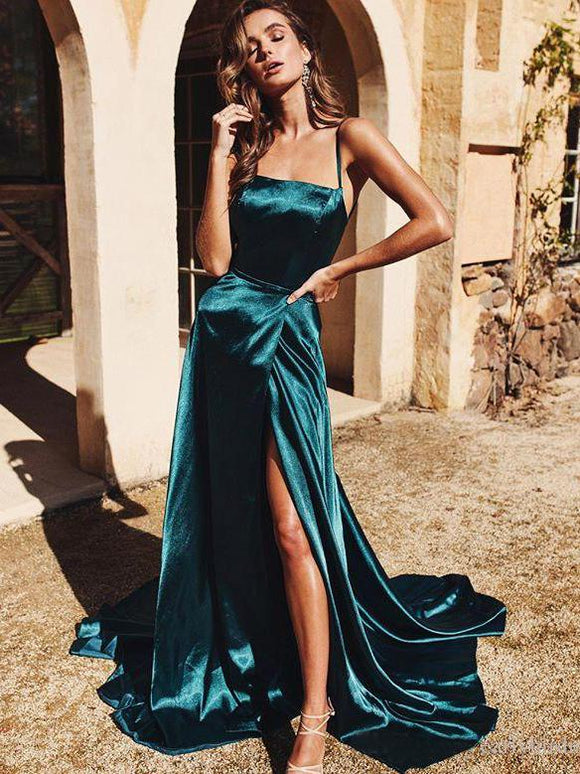 A-line Spaghetti Straps Long Prom Dresses Cheap Formal Gowns SED370