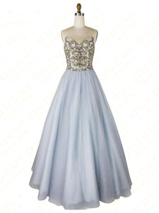 A-line Strapless Beaded Long Prom Dresses Unique Formal Gowns SED371