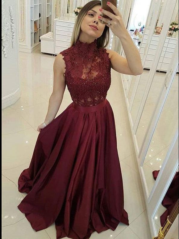 A-line High Neck Burgundy Long Prom Dresses Satin Evening Dresses SED438|Selinadress