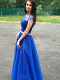 A-line Cap Sleeve Royal Blue Long Prom Dresses Beaded Evening Dresses SED372|Selinadress