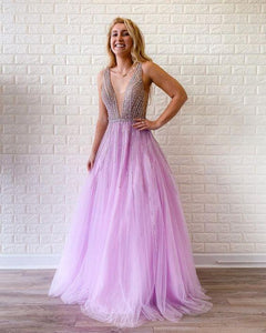 A-line V neck Lilac Long Prom Dresses Beaded Evening Gowns SED376|Selinadress