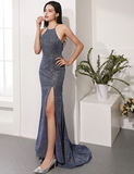 Mermaid Spaghetti Straps Long Prom Dresses Slit Sexy Evening Dresses SED374|Selinadress