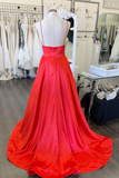 A-line Spaghetti Straps Red Long Prom Dresses Evening Dresses SED378|Selinadress