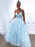 Spaghetti Straps Light Sky Blue Floral Long Prom Dresses Evening Dresses SED380|Selinadress
