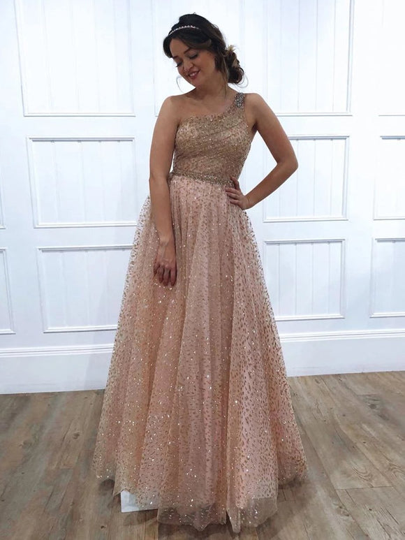 A-line One Shoulder Sparkly Long Prom Dresses Evening Dresses SED381|Selinadress