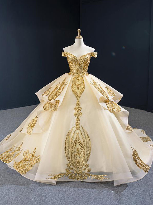 Off-the-shoulder Vintage Ball Gown Gold Applique Quinceanera Dresses SED387