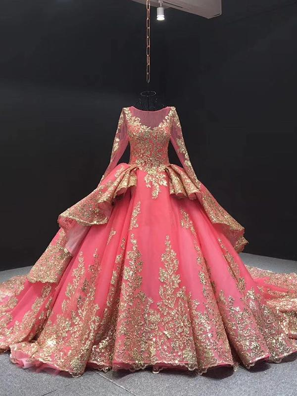 Pink Long Sleeve Prom Dress Gold Sequins Ball Gown Quinceanera Dresses Selinadress
