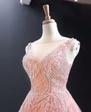 Luxurious Pink Long Prom Dress Sweep Train Ball Gown Quinceanera Dresses SED384