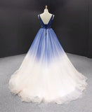 A-line V neck Ombre Long Prom Dress Tulle Quinceanera Dresses SED383