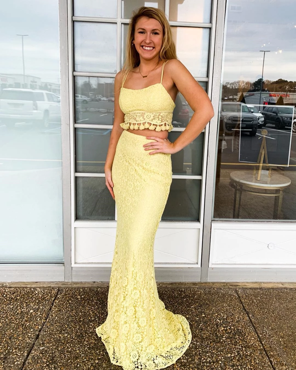 Two Piece Spaghetti Straps Exquisite Lace Yellow Mermaid Prom Dress SED557|Selinadress