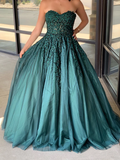 Dark Green Sweetheart Appliques Prom Dress Beaded Ball Gowns Long Evening Dress SED558|Selinadress