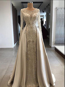 A-line Scoop Floor Length Long Sleeve Prom Dresses Evening Dresses SED460|Selinadress