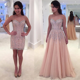 Beautiful A Line Prom Dresses Blushing Pink Rhinestone Short and Long Luxury Prom Dress SED560|Selinadress