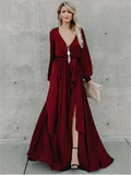 A-line Burgundy Long Prom Dresses Long Sleeve Simple Cheap Prom Dress SED561|Selinadress