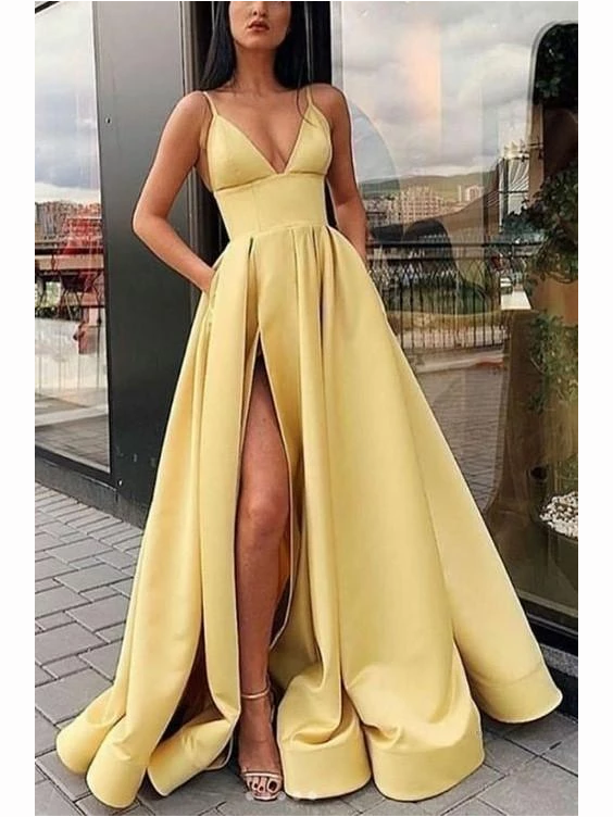 Spaghetti Straps Yellow Beautiful Long Prom Dress with Pockets SED412|Selinadress