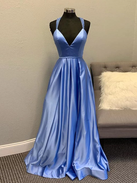 A-line V neck Satin Unique Long Prom Dresses Evening Gowns SED414|Selinadress