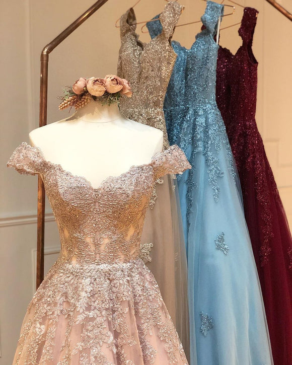 A-line Off-the-shoulder Lace Long Prom Dresses Evening Gowns SED426|Selinadress
