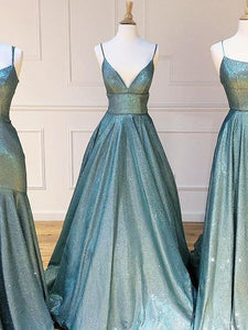 A-line Spaghetti Straps Long Prom Dresses Sparkly Evening Gowns SED425|Selinadress