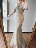 Trumpet/Mermaid V neck Lace Beaded Long Prom Dresses Formal Evening Gowns SED430|Selinadress