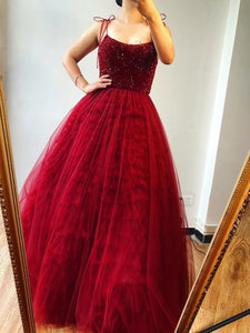 Burgundy Spaghetti Straps Beaded Long Prom Dresses Formal Evening Gowns SED431|Selinadress