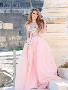 A-line Sweetheart Pink Long Prom Dresses With Floral Beautiful Evening Gowns SED433|Selinadress