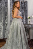 Stunning A-line V neck Sparkly Tulle Evening Dress Silver Prom Dress SED448|Selinadress
