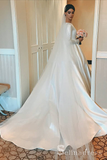 A-line Bateau Long Sleeve Wedding Dresses Princess White Satin Wedding Dress SEW055