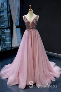 A-line Beaded Sparkly Princess Long Prom Dress Pink Formal Evening Gowns SED063