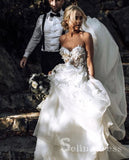 A Line Beautiful Wedding Dresses Sweetheart Appliques Beach Princess Bridal Gown SEW012|Selinadress