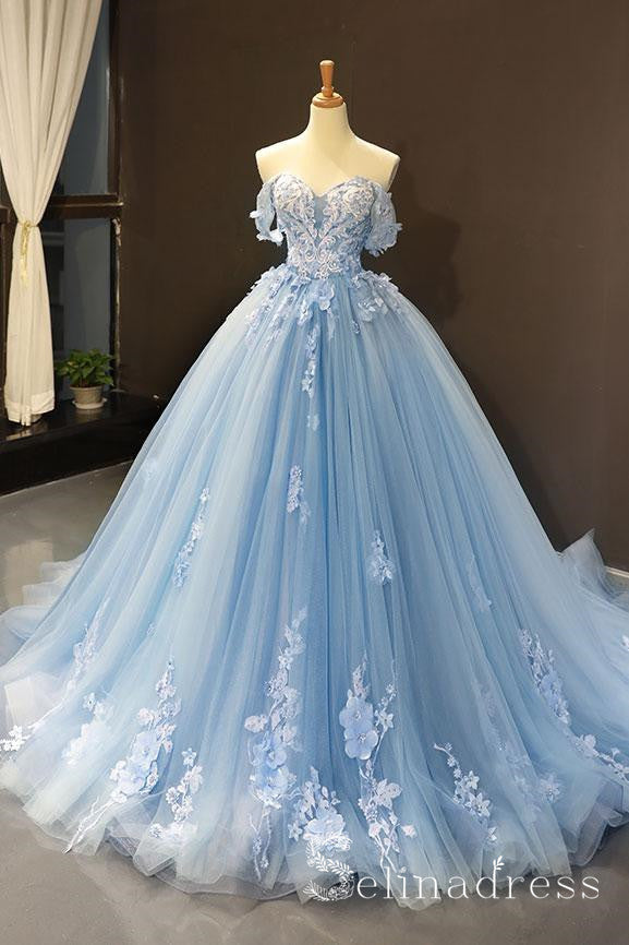 A-line Blue Off-the-shoulder Long Prom Dresses Vintage Lace Formal Dresses Evening Gowns SED036