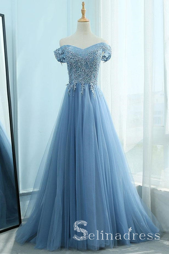 A-line Blue Off-the-shoulder Vintage Long Prom Dresses Lace Evening Gowns Formal Dresses SED038